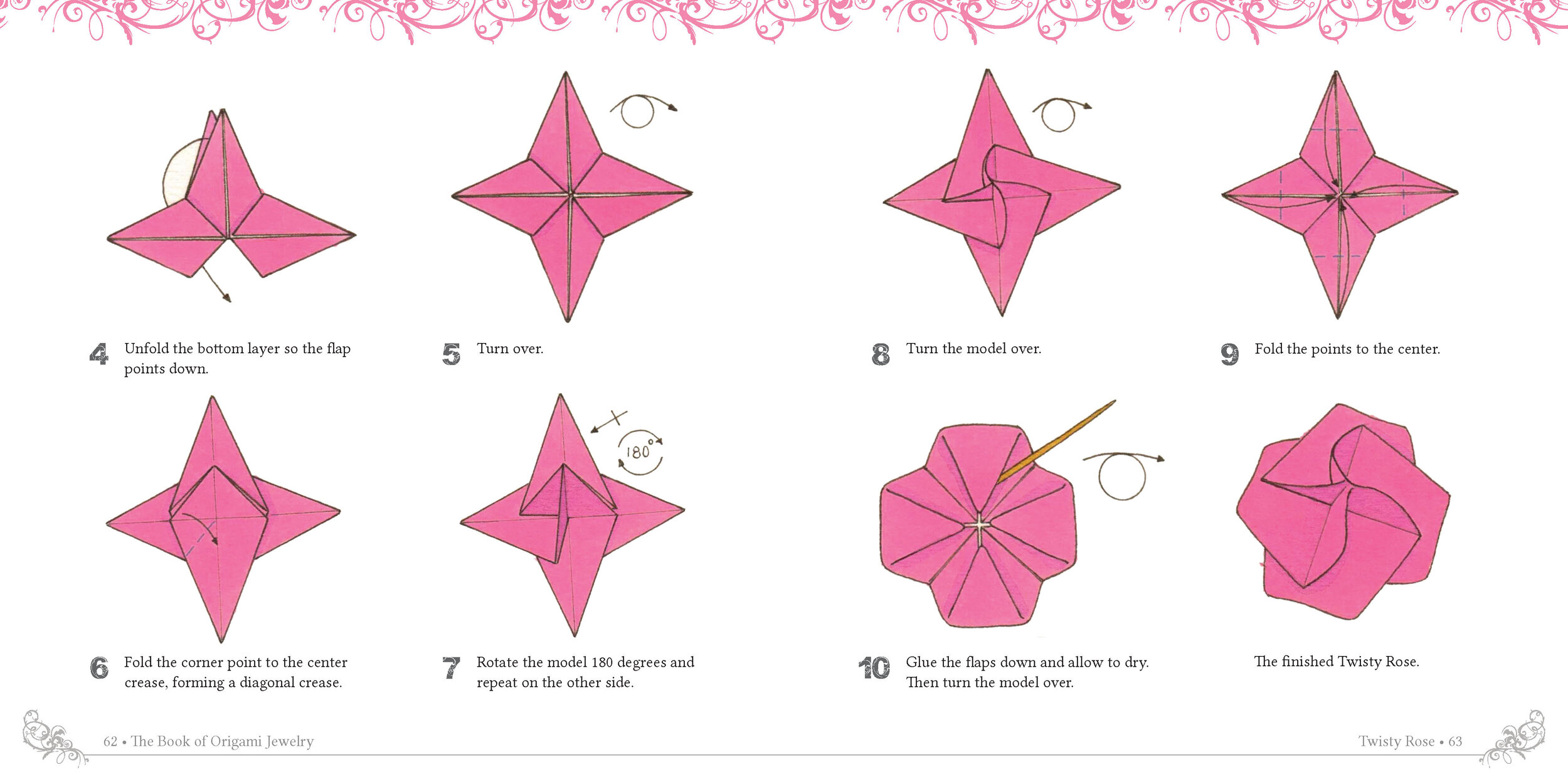 Easy Origami Twisty Rose Folding Instructions | 1250x2500