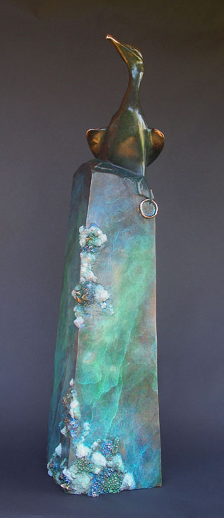 "Illuminated One, bronze. 48""x6""x6"". $10,100."