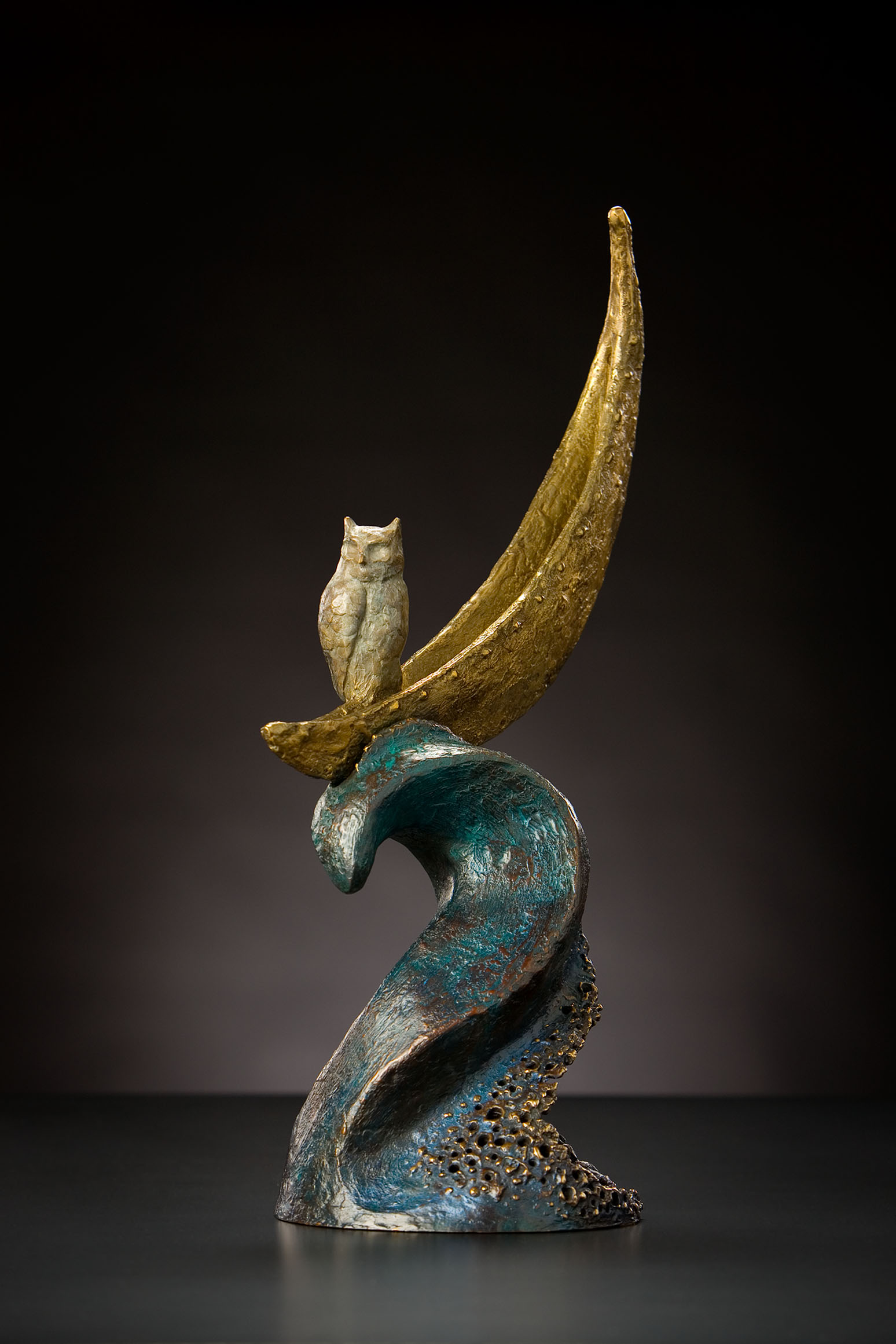 "Owl Riding the Moon, bronze. 22""x7""x7"". $4,100."