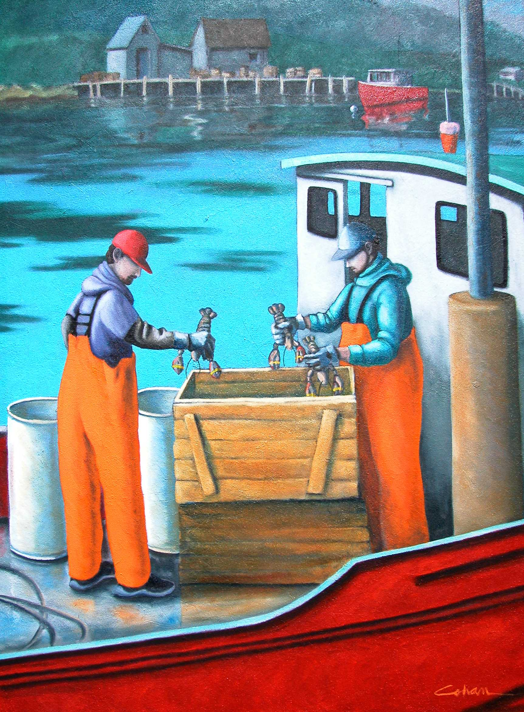 """Crating Lobsters, oil on masonite. 38""""x36""""."""