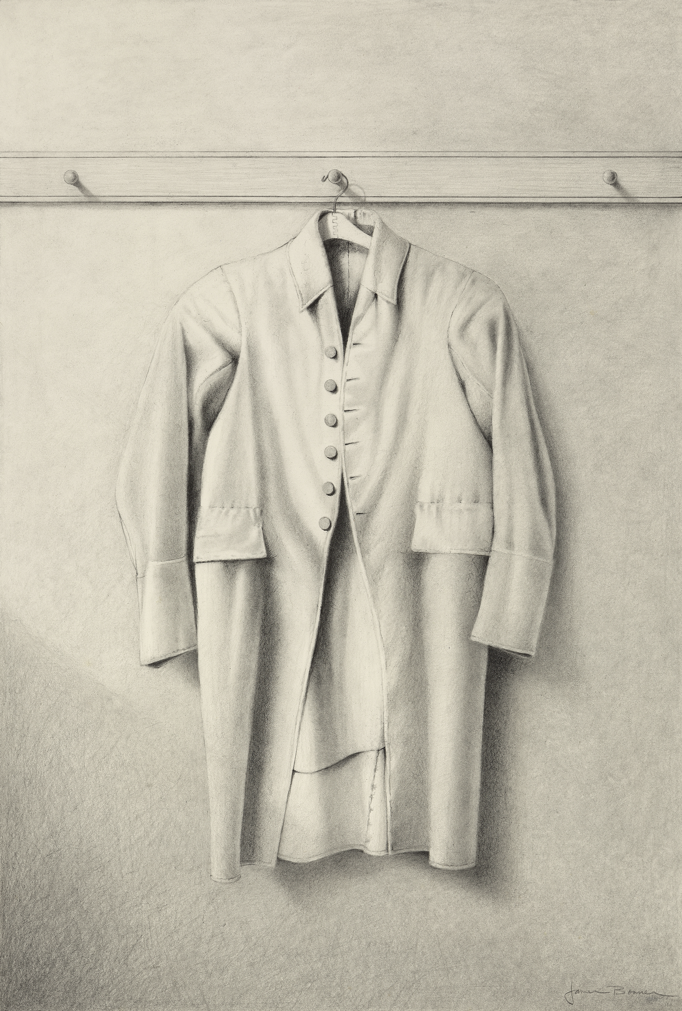 "Elder's Coat (Study), graphite on paper. Framed 27""x21""."