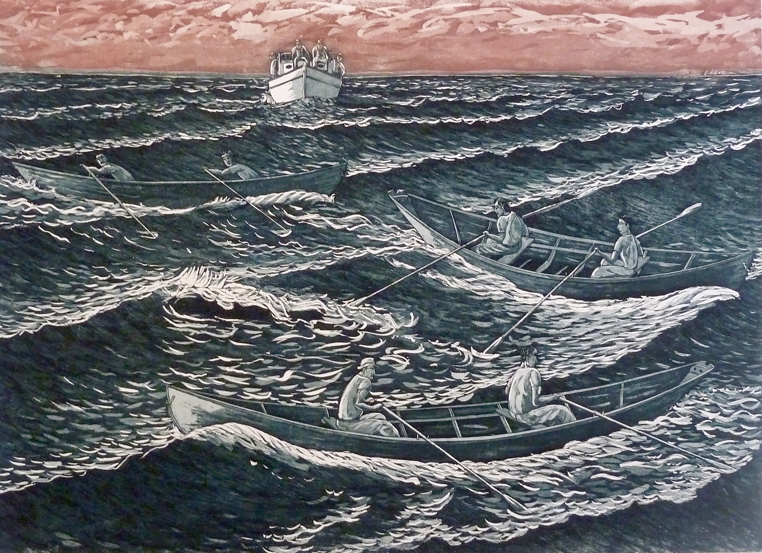 """Dory Race, etching. 18""""x24"""". $1,000."""