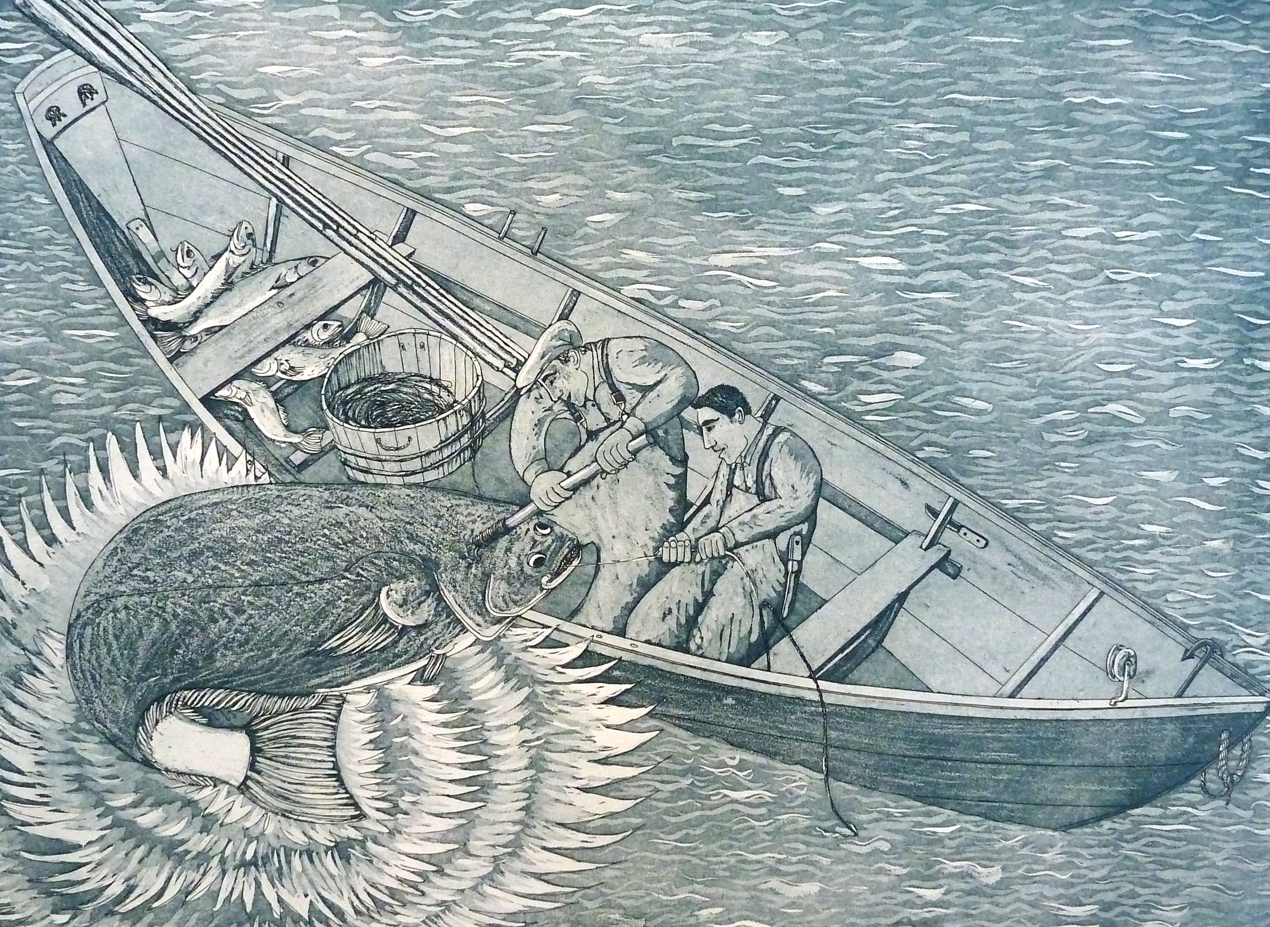 """Father and Son (Big Halibut), etching. 18""""x24"""". $1,000."""