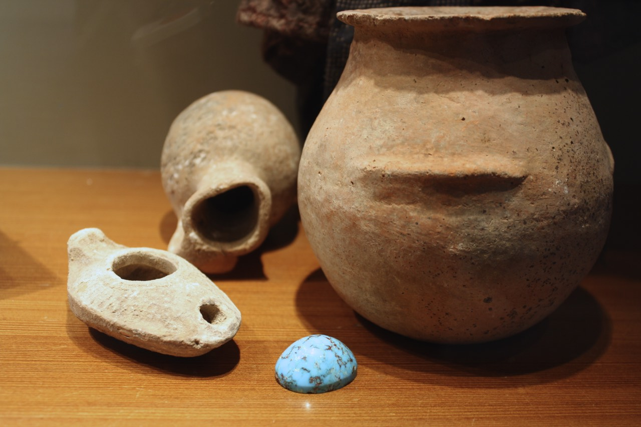 Ancient Chalcolithic period Terra Cotta jug (3000-4000 BC), Small Ancient Bronze Age Jug w/ handle (2000-3000 BC), and ancient Byzantine Oil Lamp (500AD)