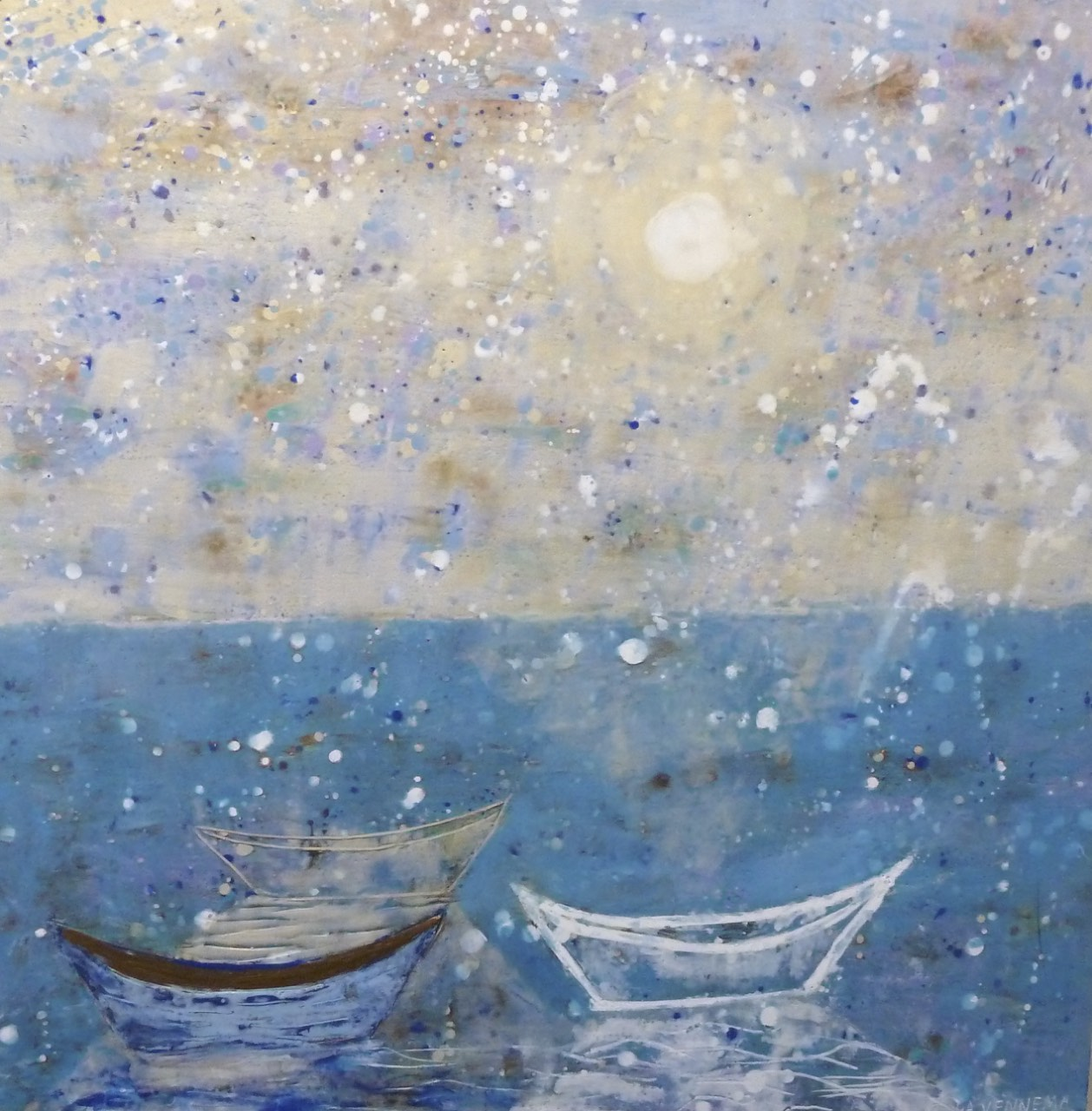 Painting, Encaustic on Panel, 30x30,Three Dories with Moonlight, $3800..jpg
