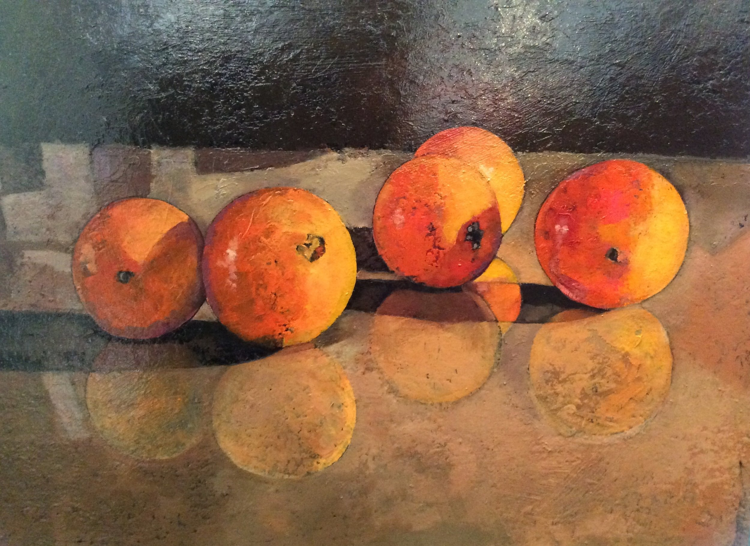 Five Oranges On Glass
