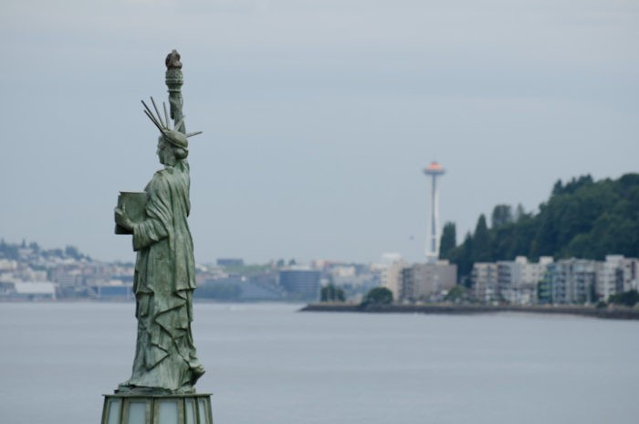 The view from my Seattle apartment included a miniature Statue of Liberty. I lived about 50 yards from this spot. Here I learned that having a beautiful view or living in a cool neighborhood doesn't make you happy. My feet were always cold and there were only 36 days of sunshine the first year I lived here.