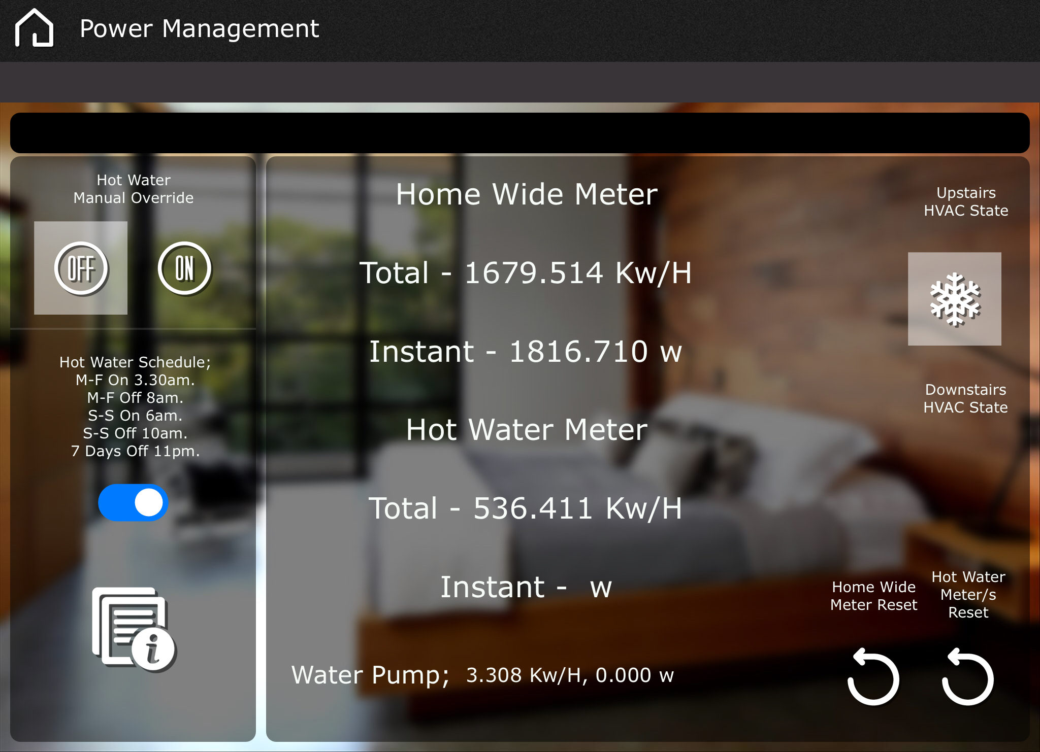 Amazing habits get formed when you take the mystery out of why your energy bill changes and why. As you adjust lighting or thermostats, you can see your real time energy meter change wattage and total use.