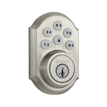 The SmartCode touchpad smart lock with Home Connect technology enables the lock to wirelessly communicate with other devices in home. The lock allows the user (through a third-party smart home controller) to remotely check the door lock status, lock or unlock the door and receive notifications. SmartCode is a one-touch locking motorized deadbolt. With your personalized code, you can enter your home with the convenience of keyless entry and the back-lit keypad provides increased visibility.