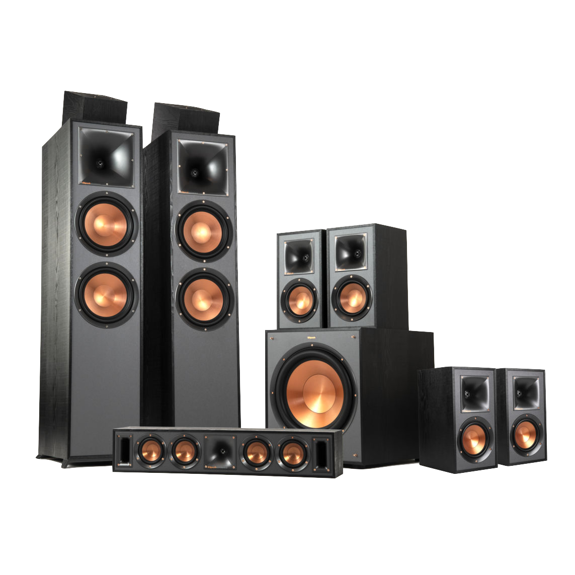 7.1.2 Dolby Atmos® Home Theater system will immerse you into the action with crisp, clear sound.  Features:  Includes: (2) RP-8000F, (1) RP-404C, (2 Pair) RP-600M, (1 Pair) RP-500SA, (1) SPL-150   Titanium LTS Vented Tweeters with Hybrid Tractrix® Horns   Spun Copper Cerametallic™ Woofers  Strong, Flexible Removable Magnetic Grilles