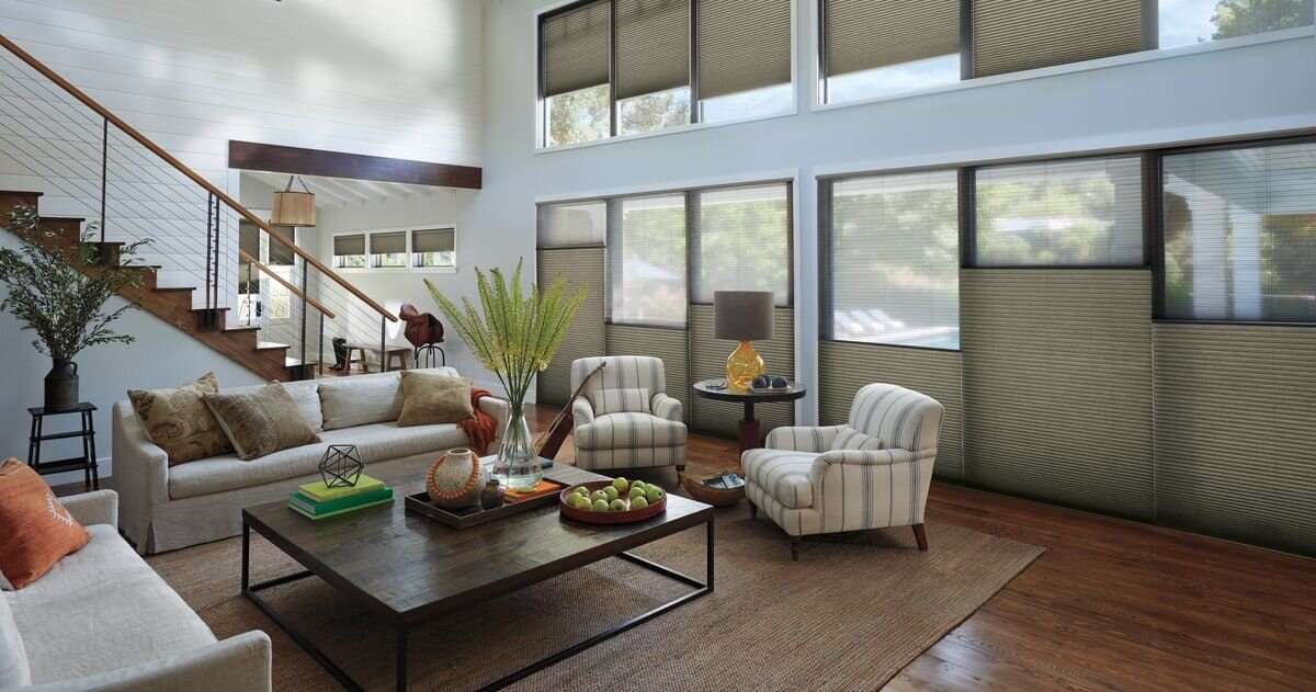 Family Room Motorized Shades with Home Controls