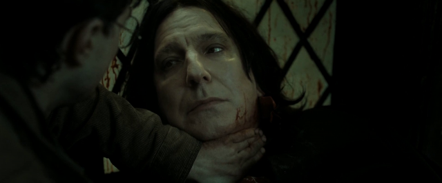 Professor Snape, Wasn't Naginni a python? I thought they constricted and weren't venomous?  Shut...up, Potter. Let me...die in, peace. Plus, I totally stroked my wand to...images of...your mother.  You're a bad person Professor.  Fuck you Harry...fuck...you