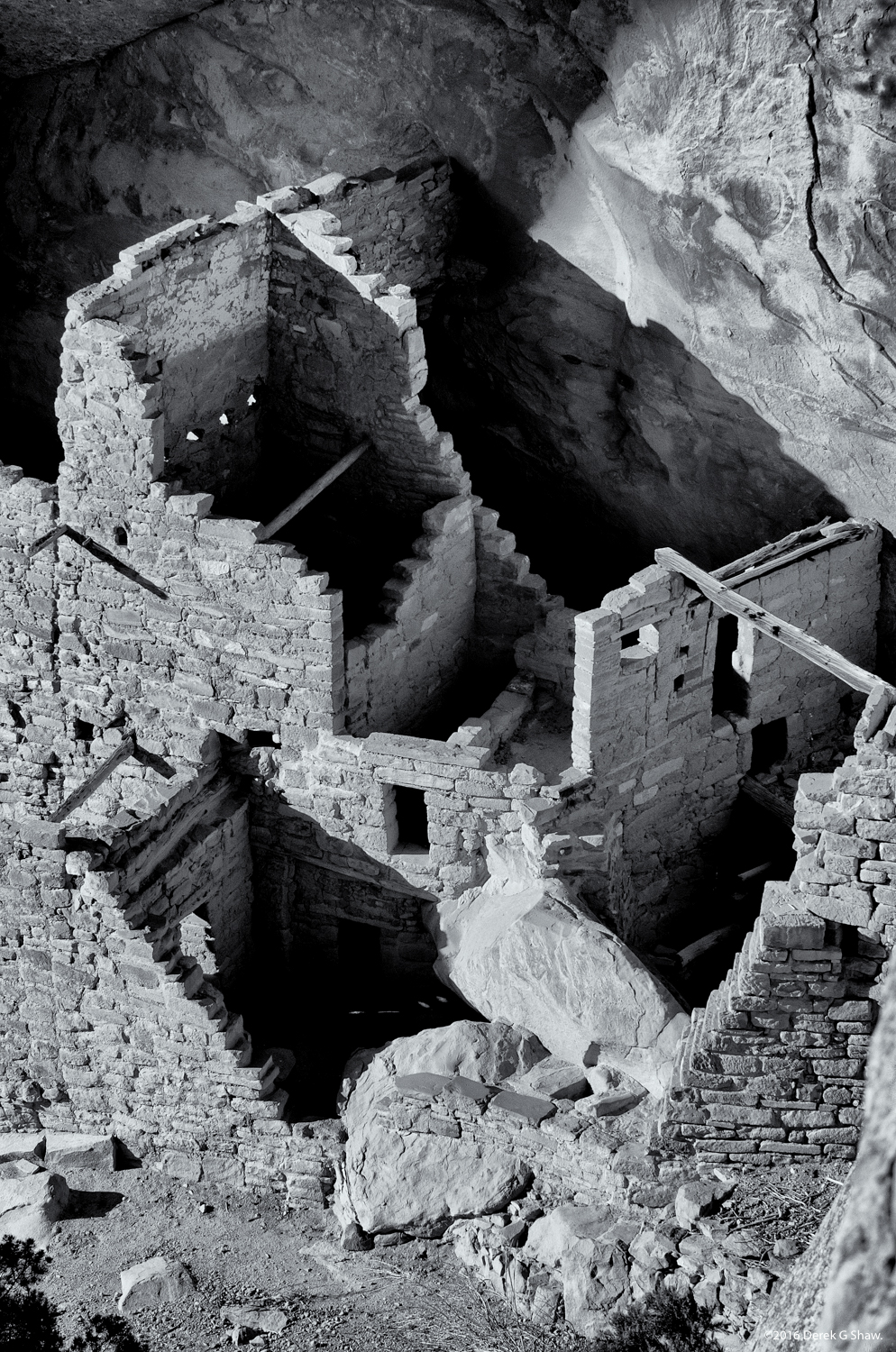 Square Tower House and Petroglyph (Upper Right)