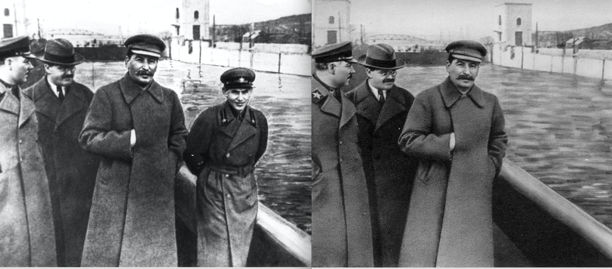"The famed ""vanishing commissar"" pictures before and after Yezhov's execution in 1940."