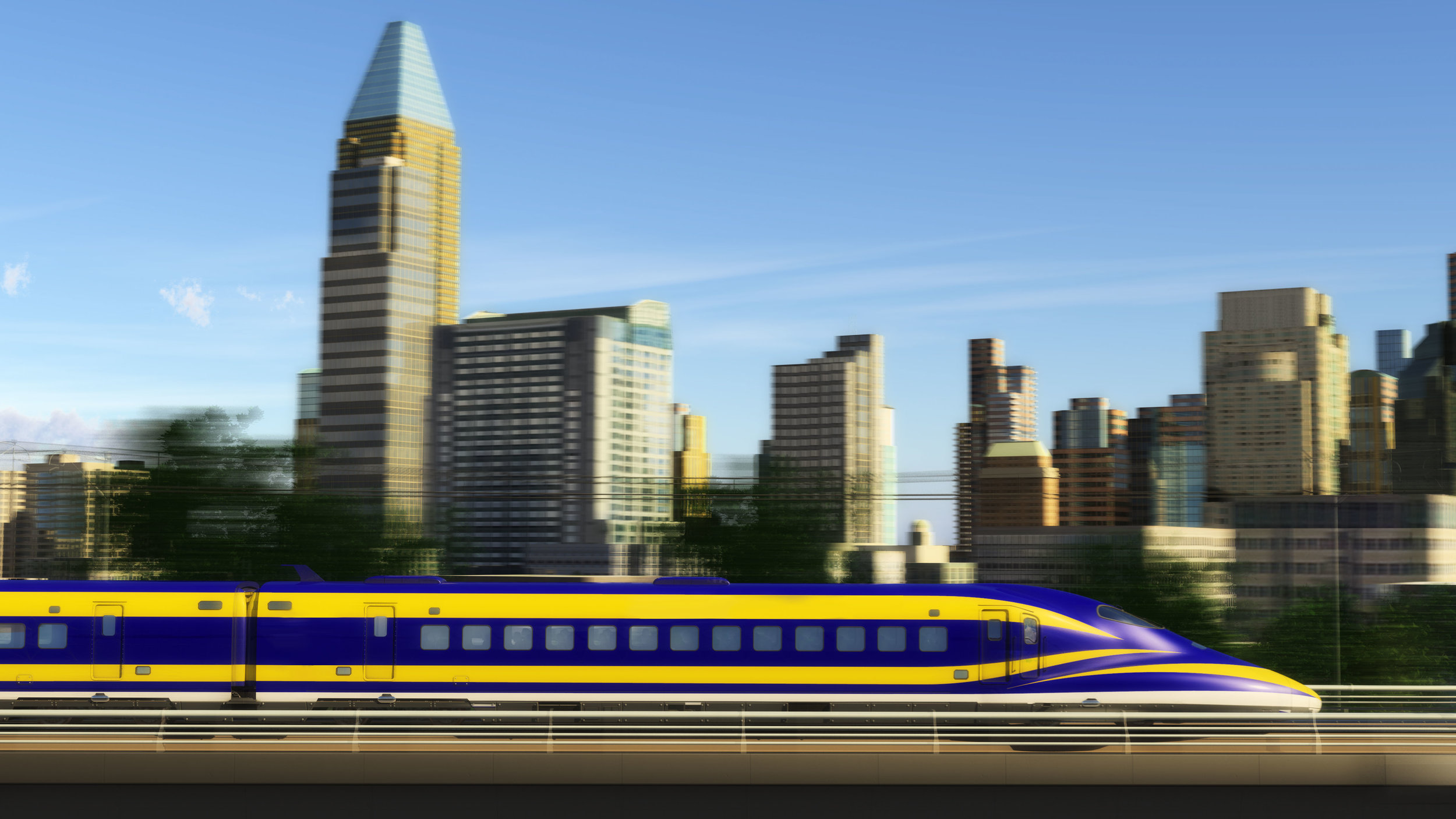 Conceptual image of HSR Train traveling through Sacramento.