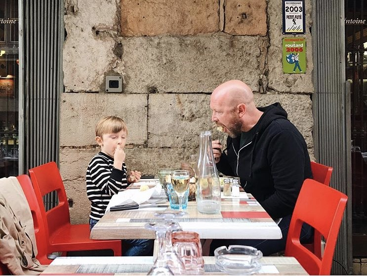 Chef Aaron Barnett and his son eating their way through Lyon