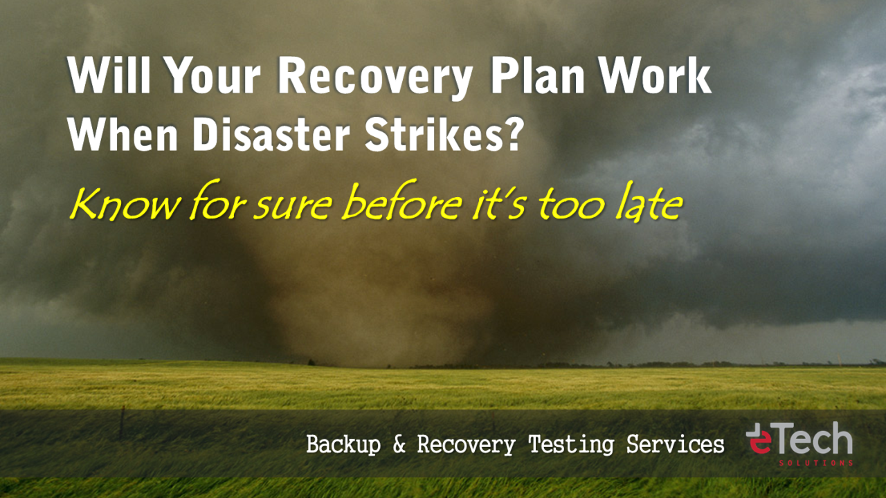 IT Backup & Recovery, Disaster Recovery Plan, Testing Services