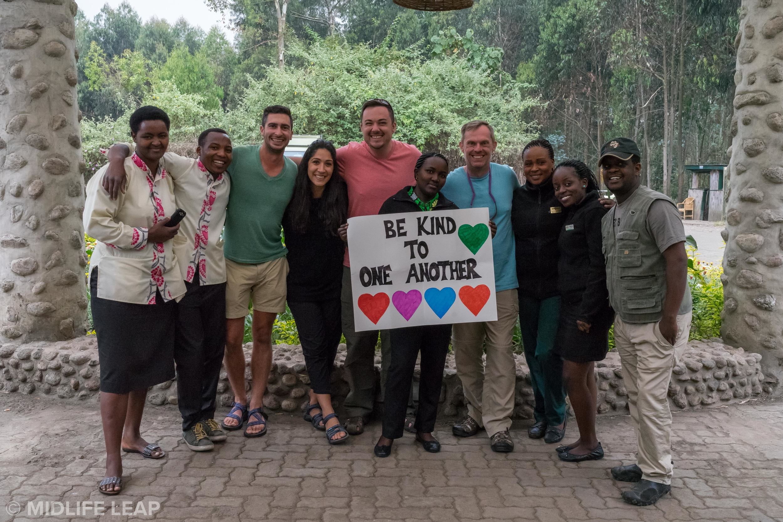 with the wonderful staff at the Mountain Gorilla View Lodge and our new friends Chris and Shane
