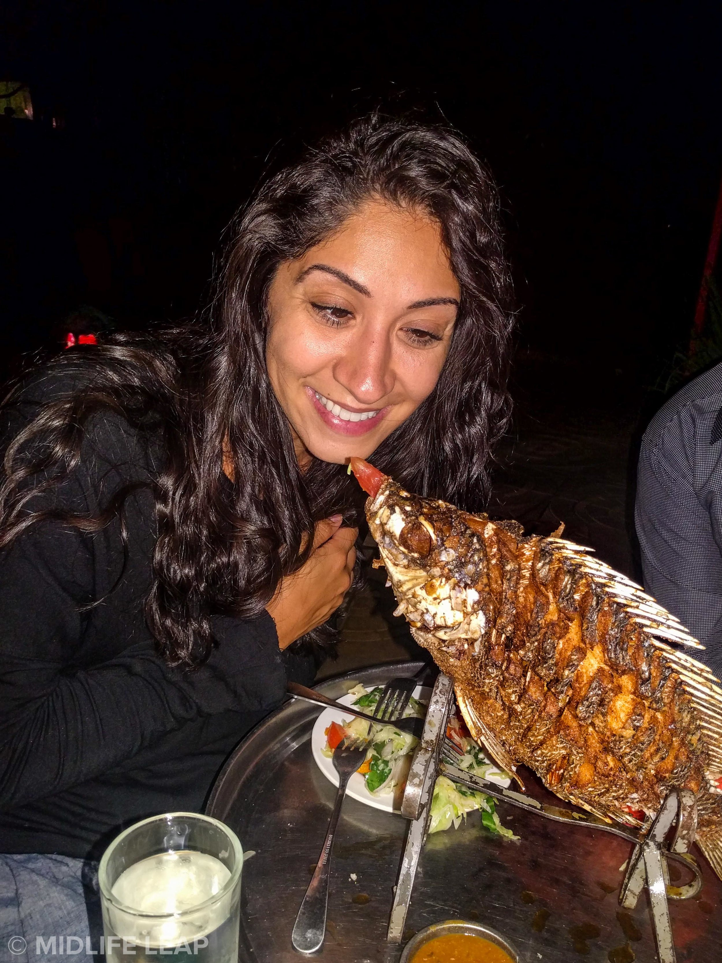 Whole fried fish? Yes please! My crazy eye not included