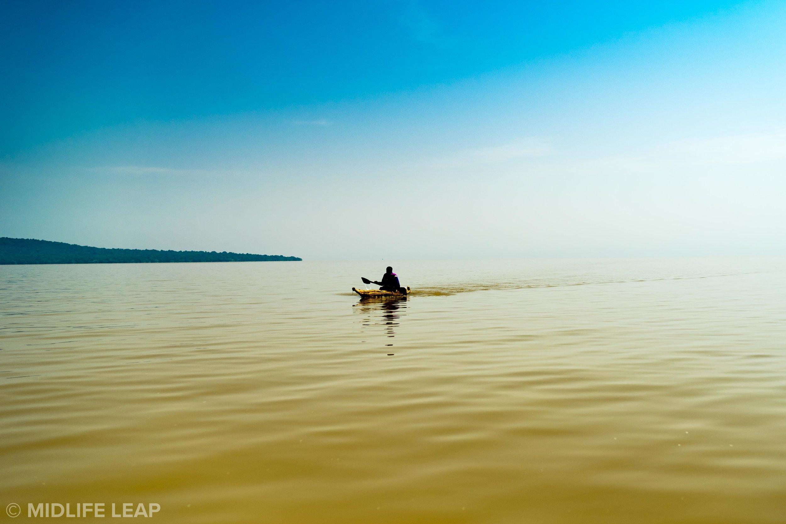 Lonely fisherman on Lake Tana.