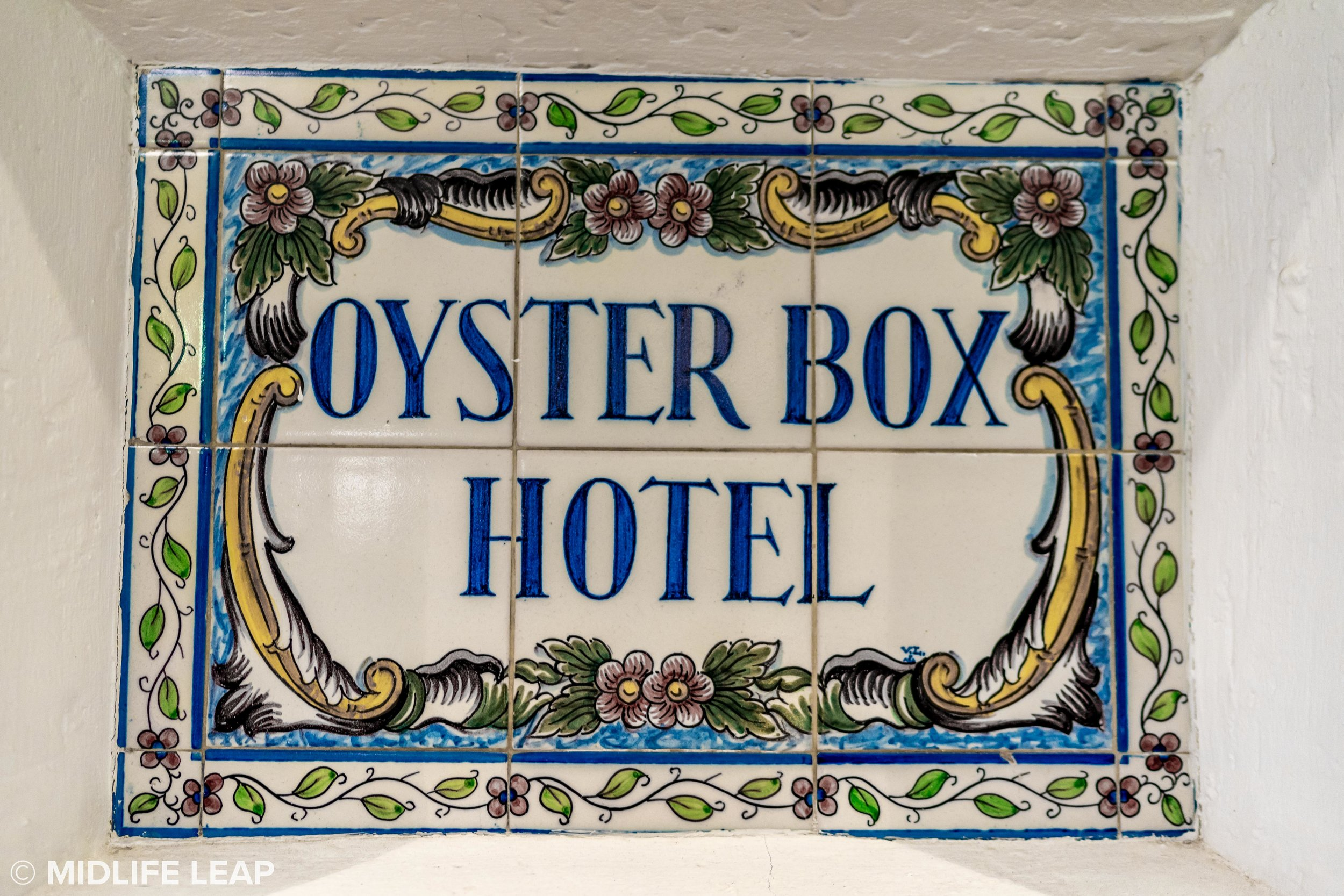 Some of the original hand painted tiles of The Oyster Box Hotel