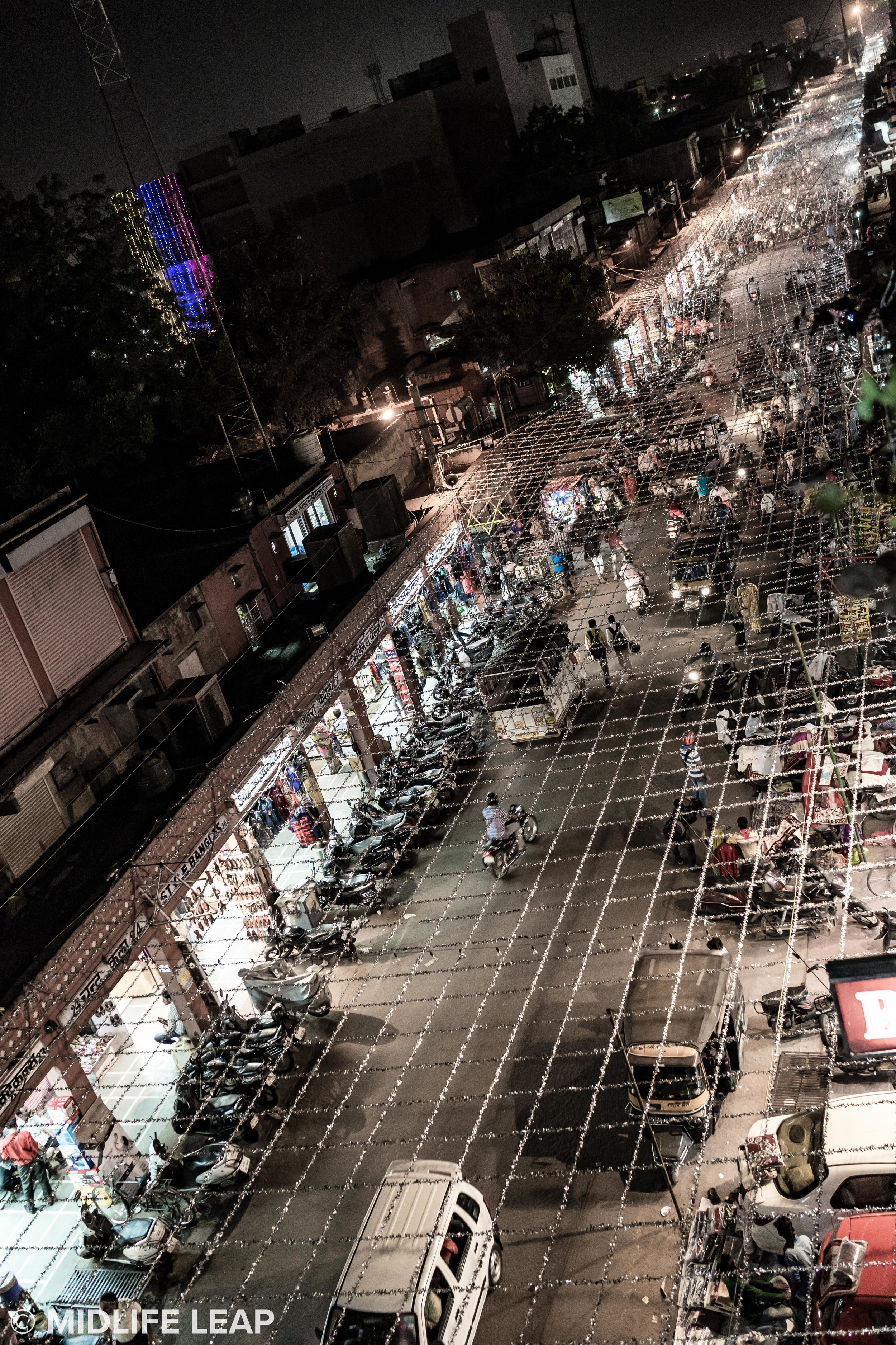Nehru Bazaar at night