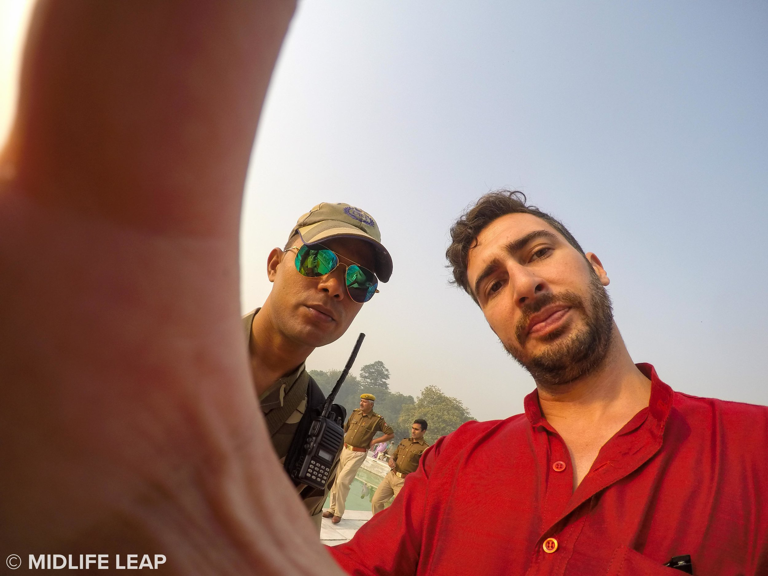 Trying to convince the cop that our GoPro was only taking pictures, not video