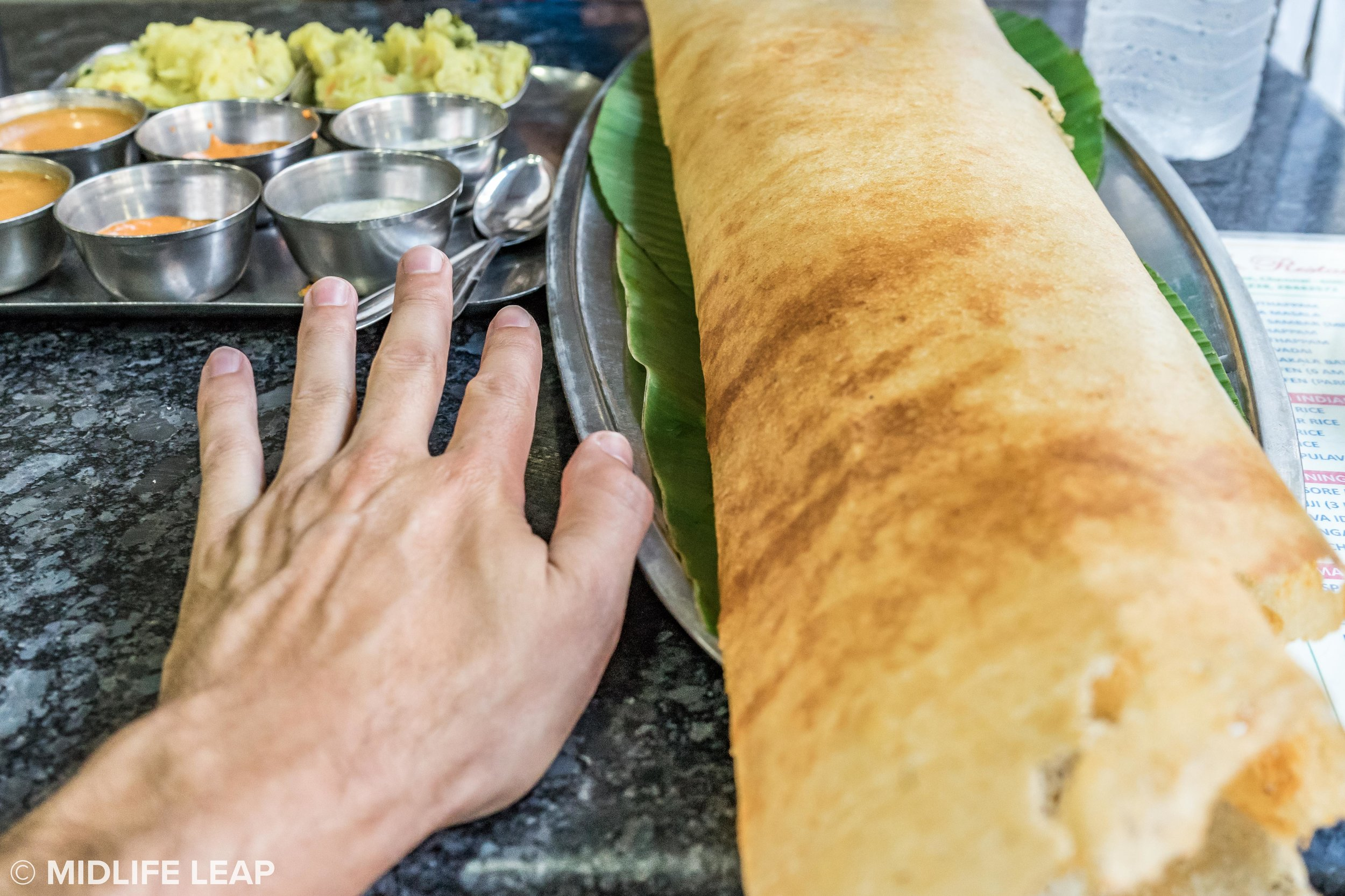 For scale (couldn't fit the whole dosa in the shot)