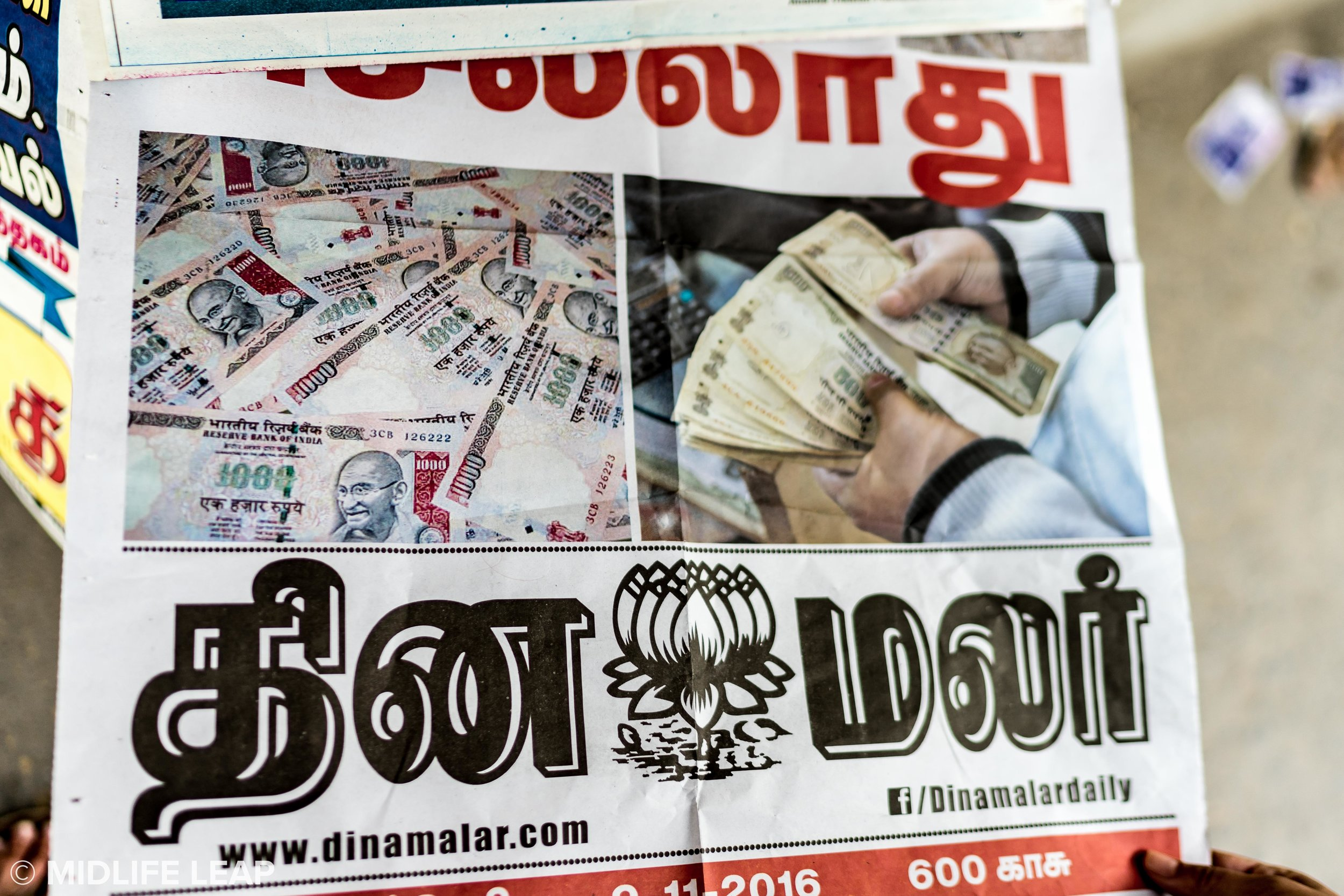 One of the many newspapers featuring the 500 and 1000 rupee notes disappearing