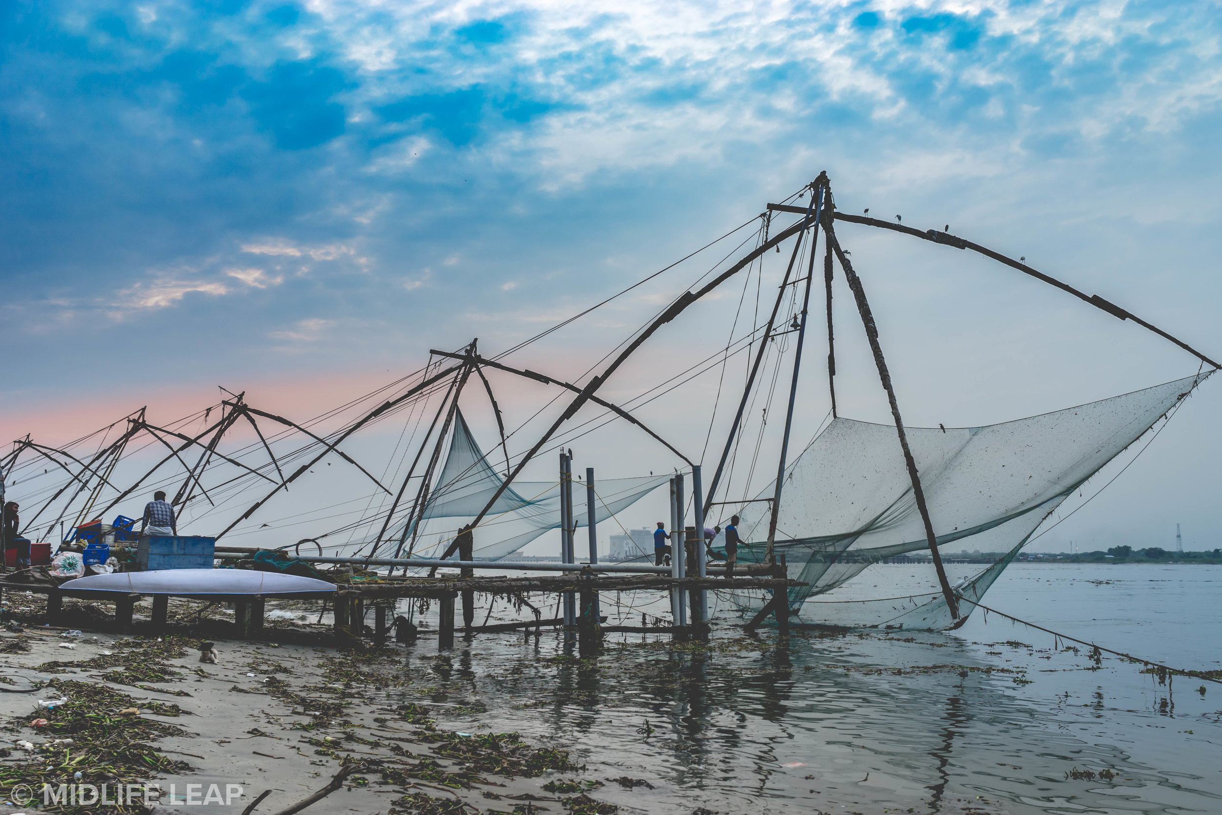 Chinese Fishing Nets at Sunset, Fort Cochin