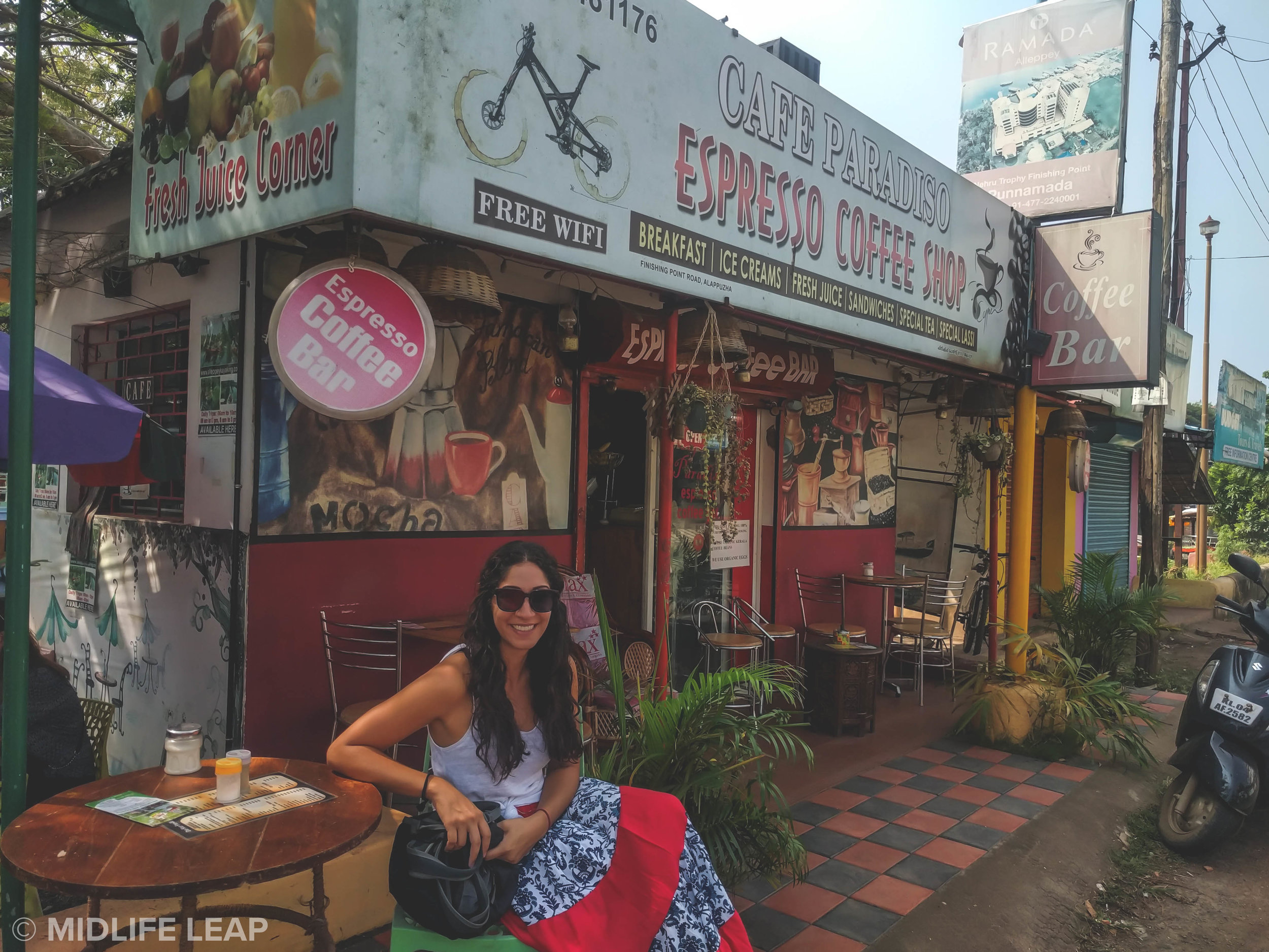 Our go to breakfast and coffee spot in Alleppey (and omg I'm tan!)