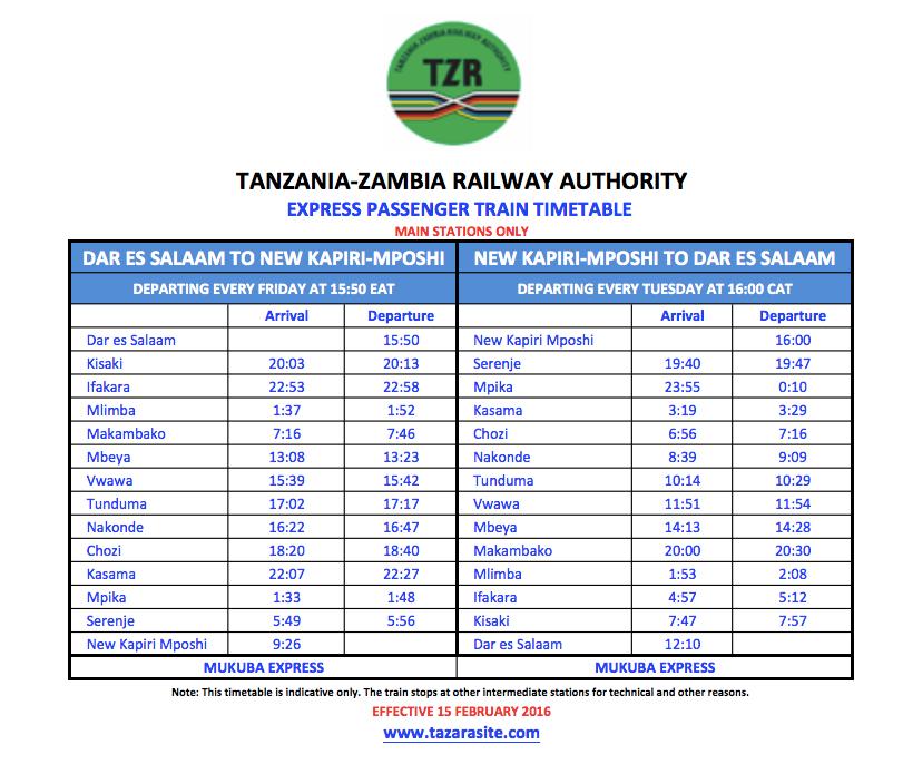 Tazara-train-Mukuba-express-train-time-table