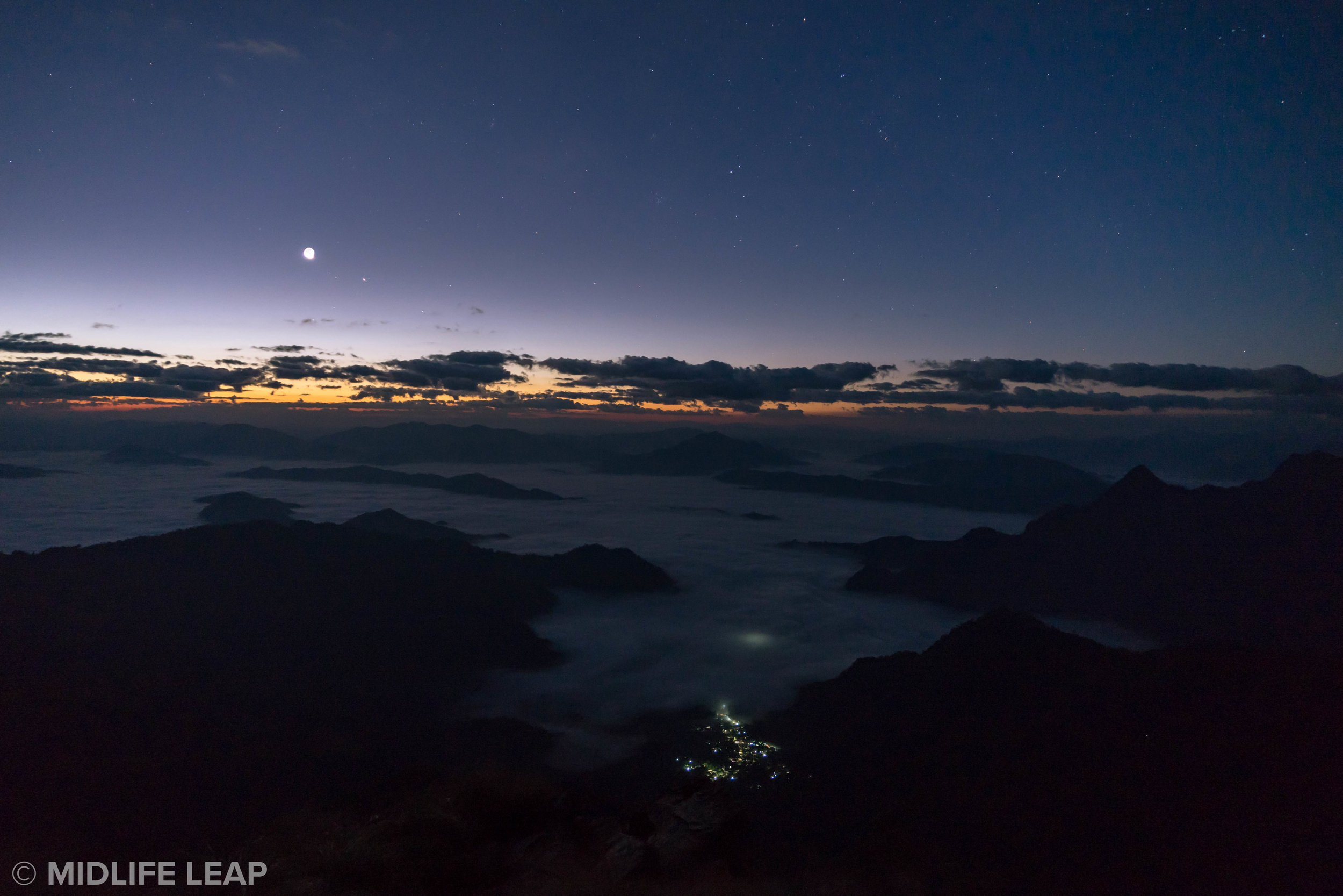 That's the moon in the sky, and a small town in Laos below