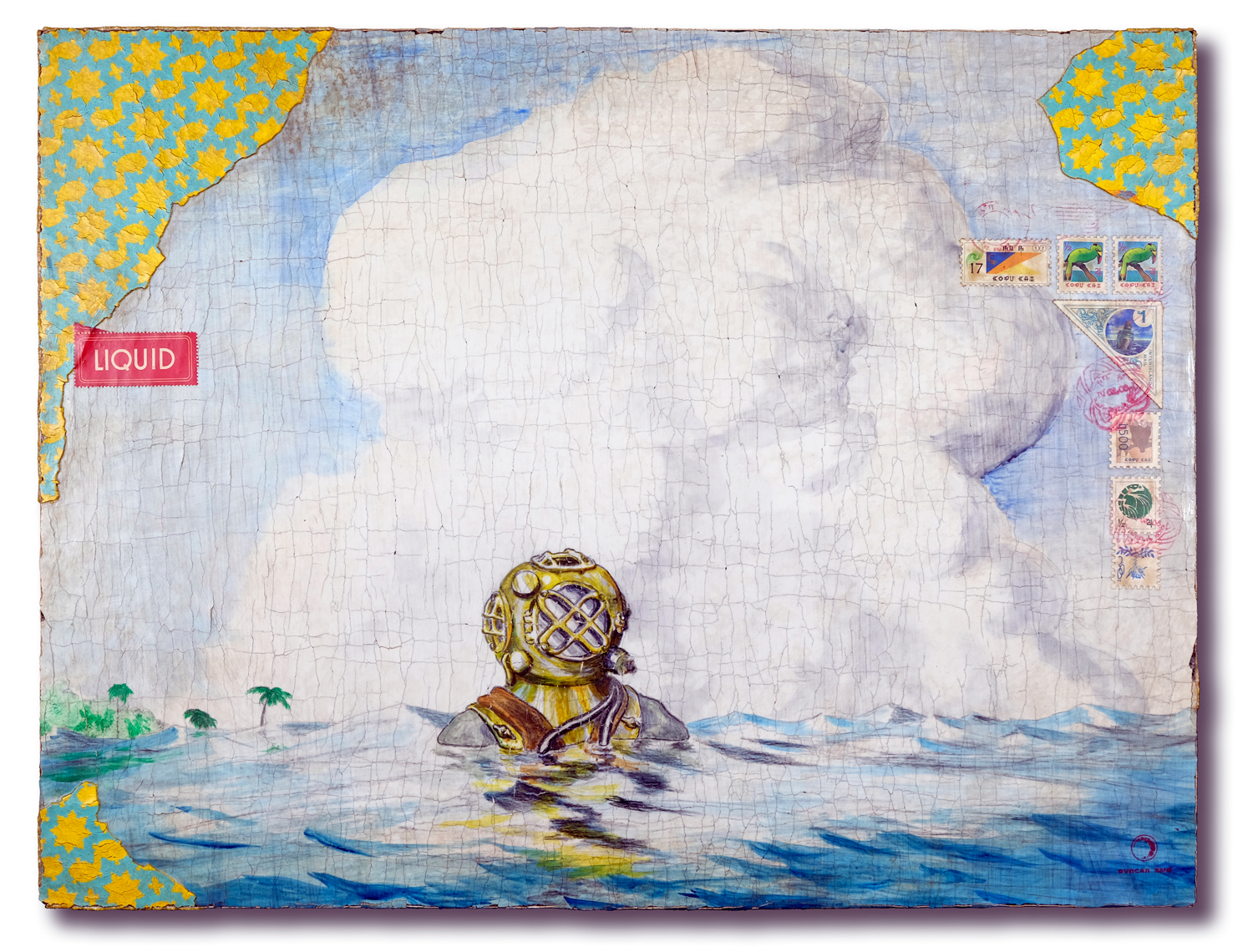 "Aquanaut, 16.5x21.5"", acrylic and colored pencil on wood"