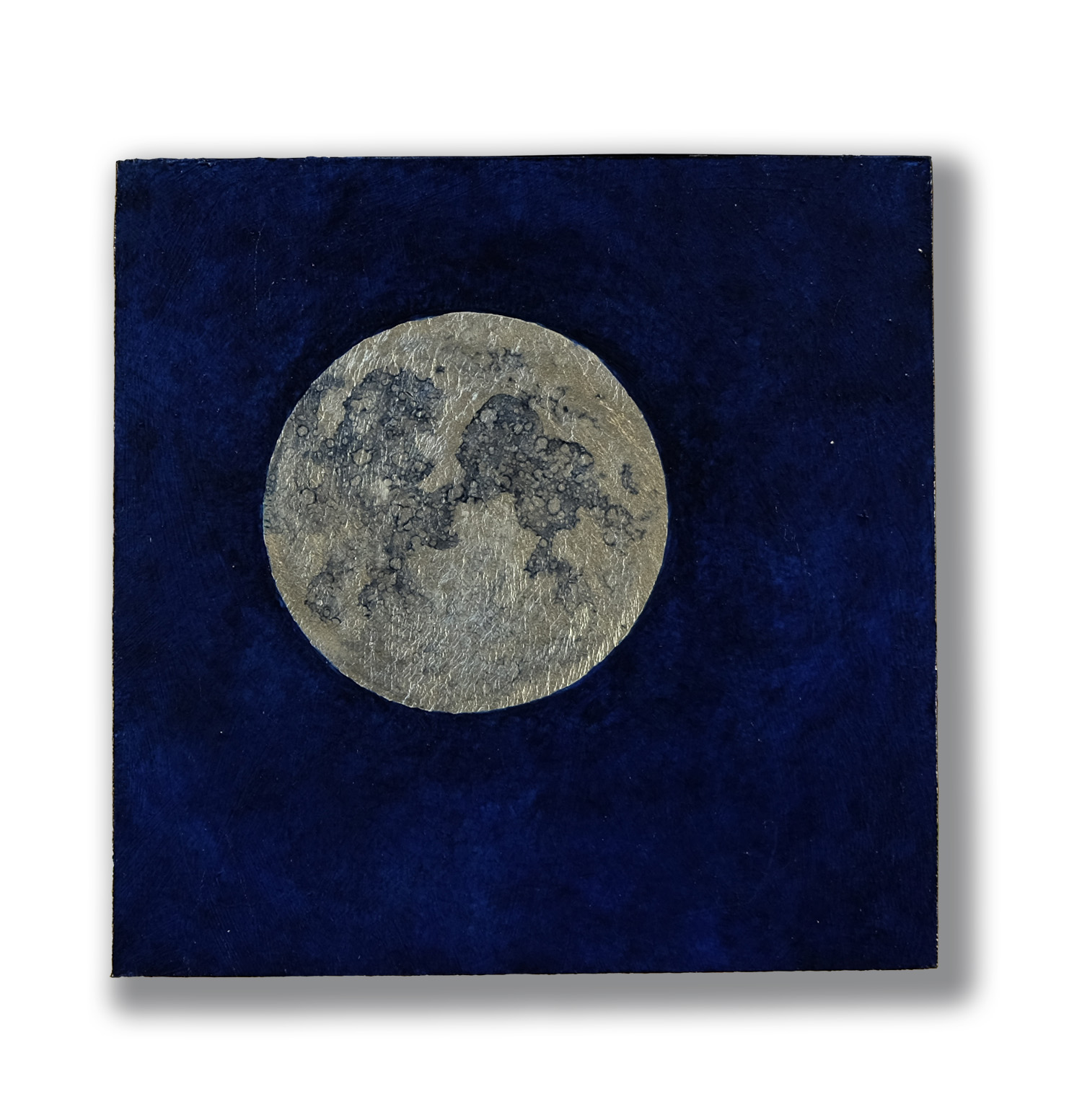 Moon #3, oil and white gold leaf on wood, 6x6""