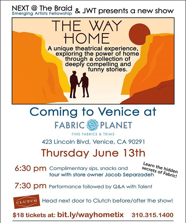Come one, come all!  An evening of theater at the fabric shop!  Thursday June 13th  Snacks and drinks at 6:30pm Performances beginning at 7:30pm $18 tickets @ bit.ly/wayhometix #theater #fabric #food #drinks #support #art #have #fun #allthetime