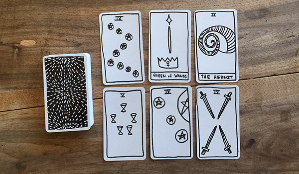 Interview spread featuring  Basic Tarot  by Anna Hegarty