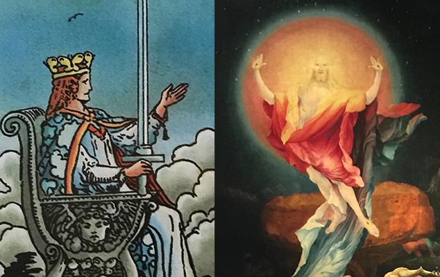(L) Queen of Swords, RWS Tarot (Pamela Colman Smith), Lo Scarabeo, 2017; (R) Isenheim Altarpiece, Unterlinden Museum, Colmar FR