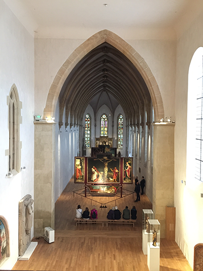 Balcony view of the Crucifixion panel.