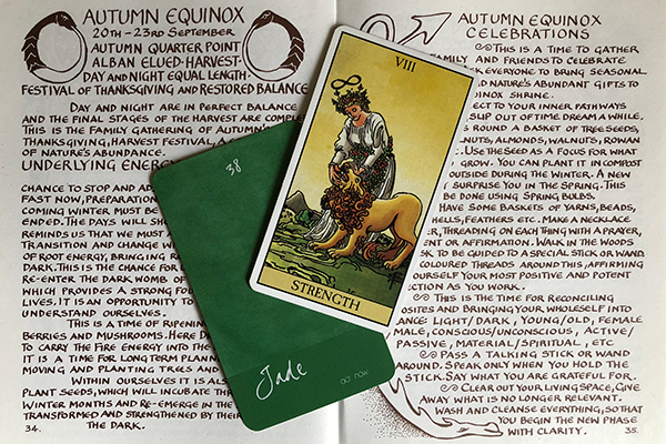 """Pictured: Book - Glennie Kindred's   The Earth's Cycle of Celebration   + The """"Jade"""" card from   The Color Mage Oracle   ."""