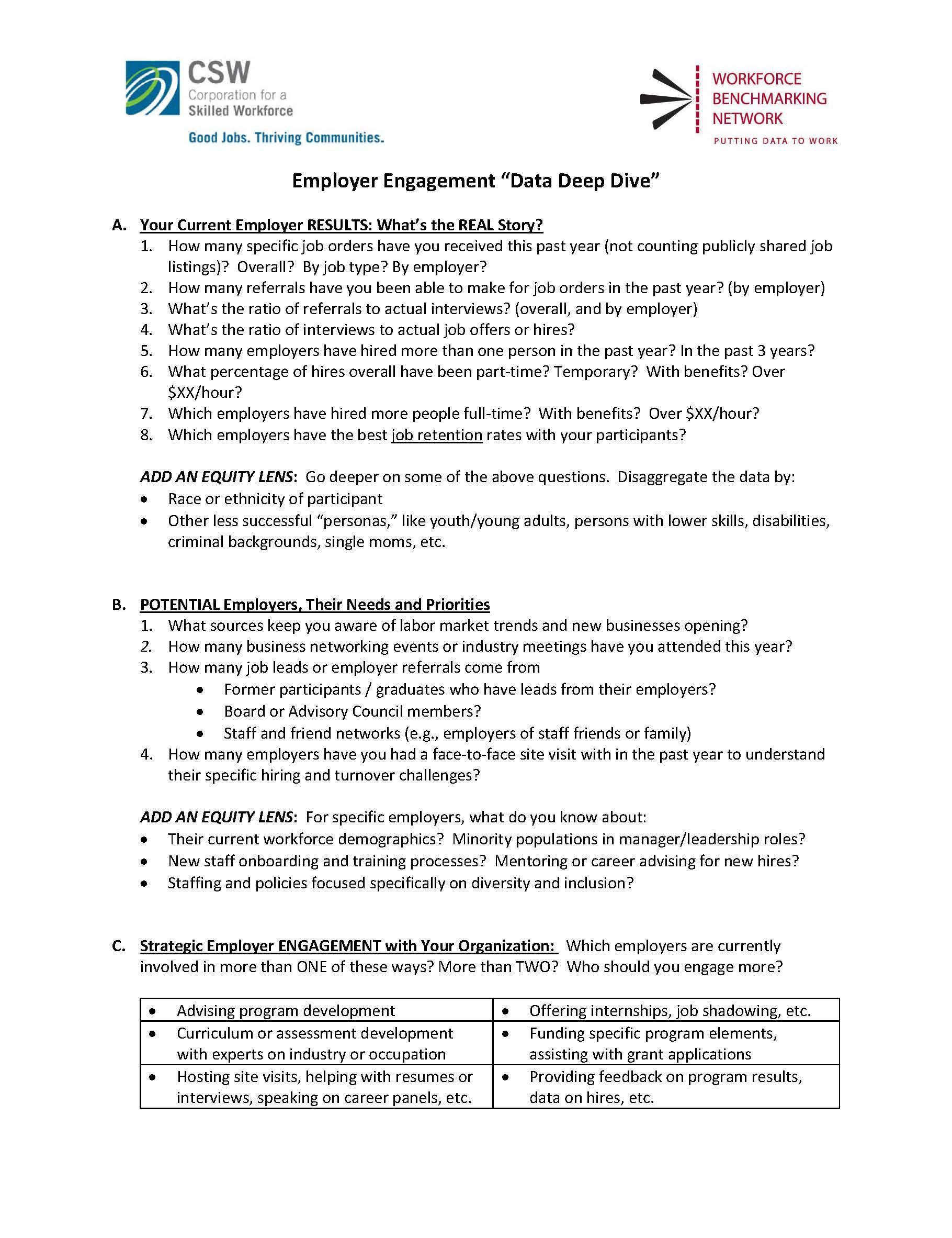 Employer Engagement Data & Action Planning
