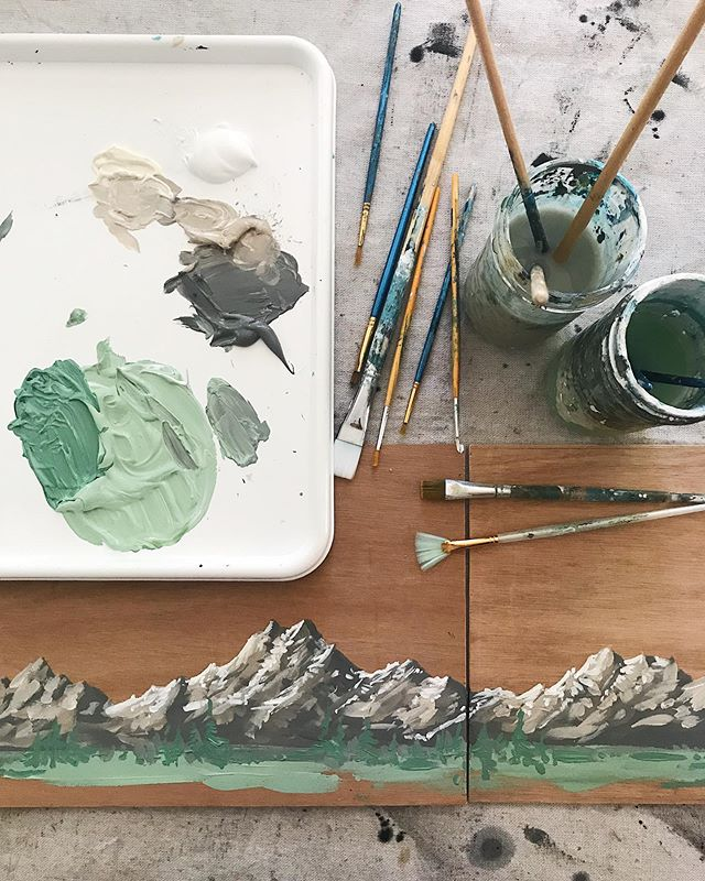 Took a break from the woodshop today to paint some mountains on wood for a little custom wedding guest book cover. I love that I find myself relishing small projects like this just as much as the larger ones. At the end of the day getting to make art is a gift and creating work for someone in particular is always an honor. 🖤 #lauraburkhartcreative . . . . #customart #customartwork #pnwonderland #mountainsandtrees #olympicmountains #mountaineers #weddingdecor #weddingguestbook #customguestbook #artislove #makeartnotwar #mountainartist