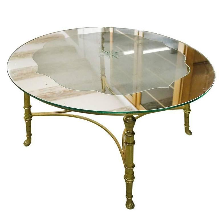 French Round Brass Coffee Table With Etched Glass Top 145 Antiques