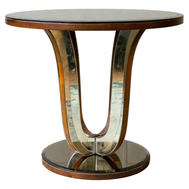 French Art Deco Mirrored Round End Table 145 Antiques