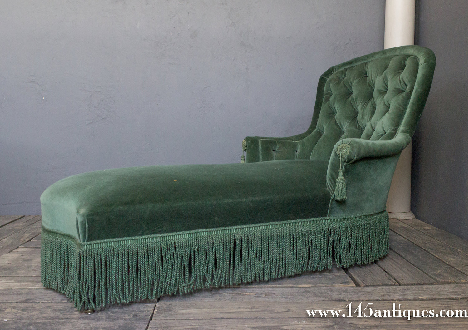 French 19th C Tufted Chaise Lounge 145 Antiques