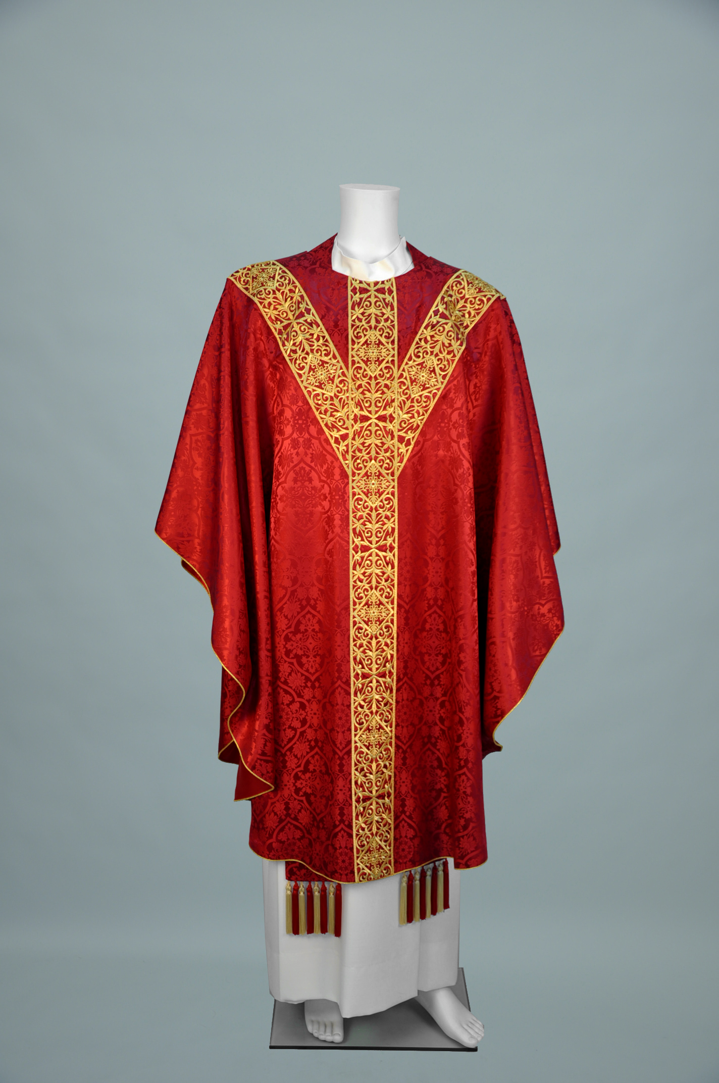Gothic Chasuble Old Normandy Red w W1487 gold (f) 1.jpg