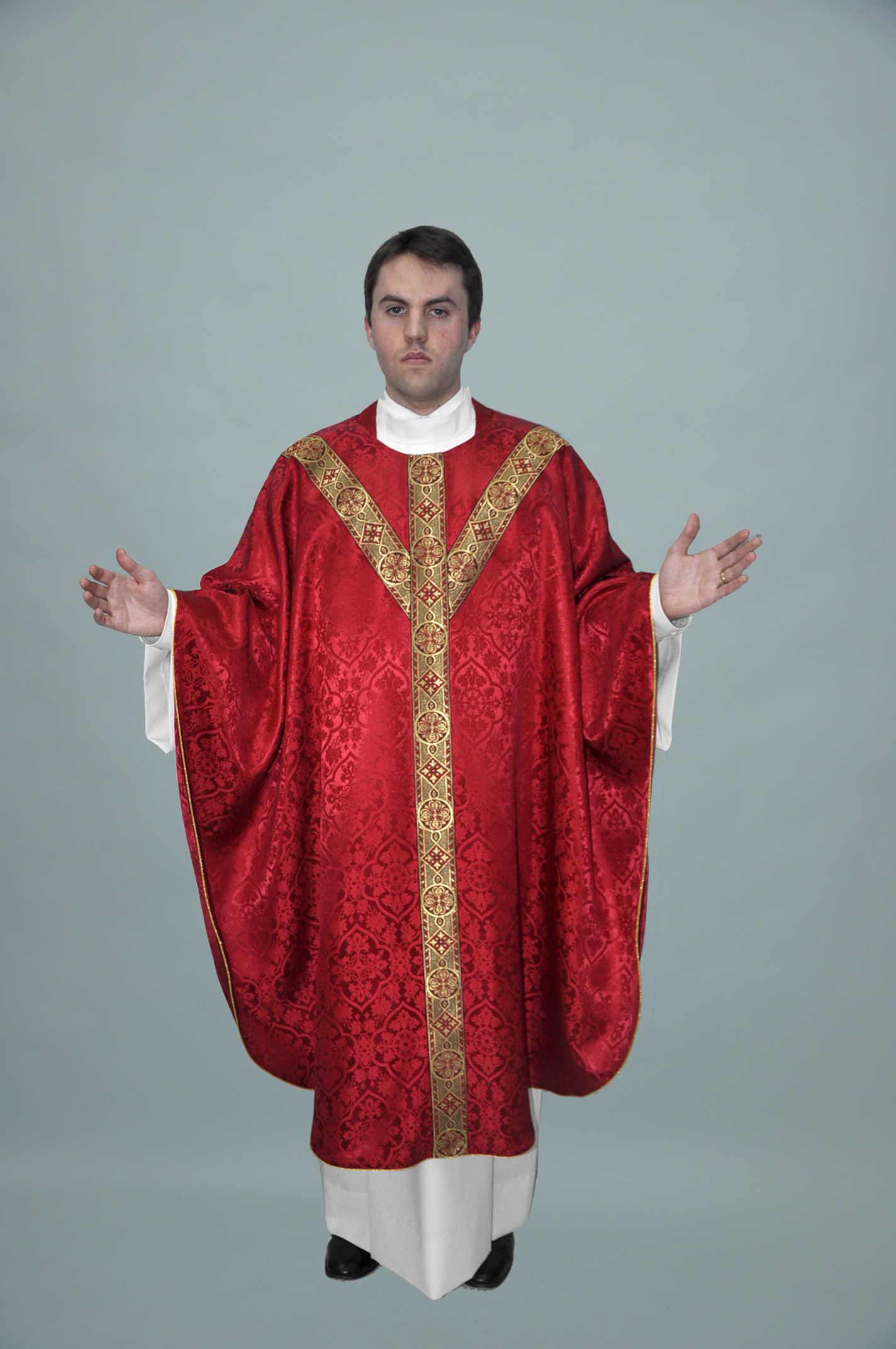 Gothic Chasuble Old Normandy red w 2in 1180 red gold (f) 1.jpg