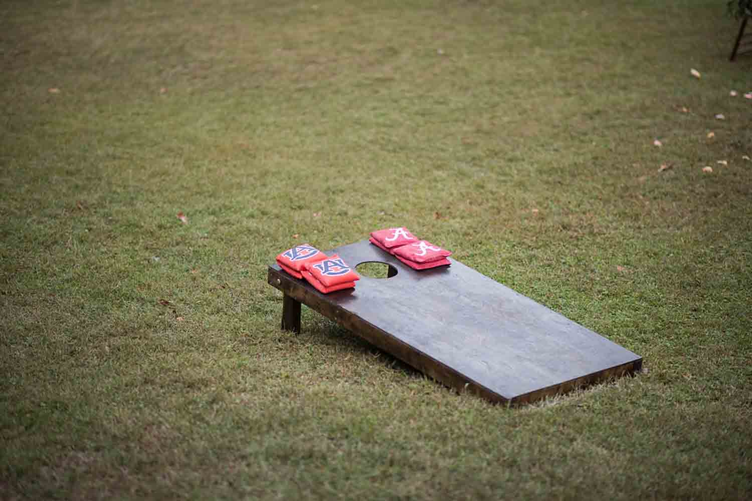 Sarah Beth and Fate provided football themed corn hole to entertain their guests. Photo:  Katie Wallace