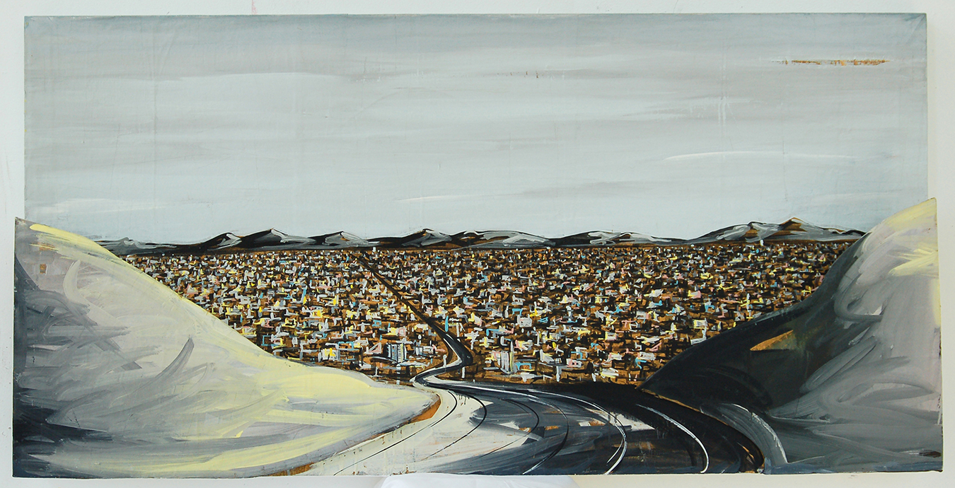 "Valley View, 1984, 30"" x 60"" x 9"", acrylic on 3D"