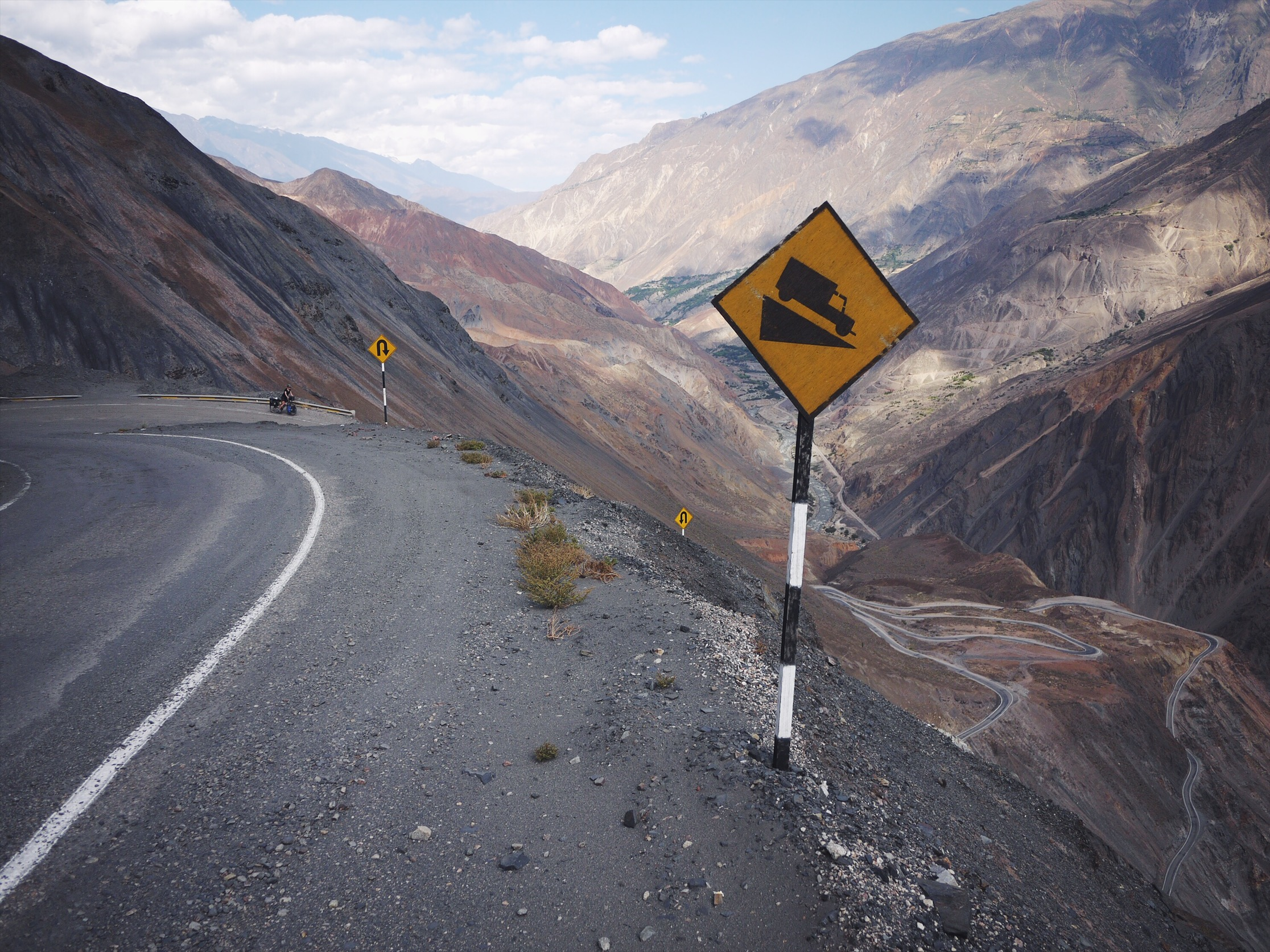 No guardrail, single lane, and 15 miles into a 30 mile descent and someone decides they need to stick a sign in the dirt as an FYI. Peru is the best.